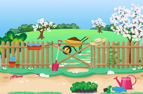 Huerto ecológico en primavera